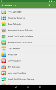 screenshot of Financial Calculators version Varies with device