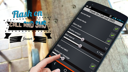 screenshot of Flash on Call and SMS version 1.2.5