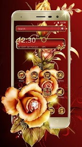 Download Golden Red Luxury Rose Theme 1.1.4 APK