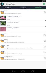 screenshot of HD Video Player version 1.8.3