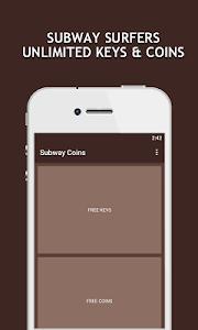 Download Keys,Coins for Subway Surfers 1.0 APK