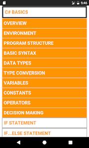 screenshot of Learn C# (C Sharp) Complete Guide (OFFLINE) version 1.0.1
