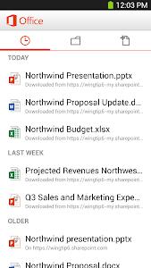 screenshot of Microsoft Office Mobile version 15.0.4806.2000