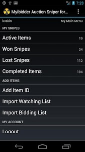 screenshot of Myibidder Bid Sniper for eBay version 0.15.07