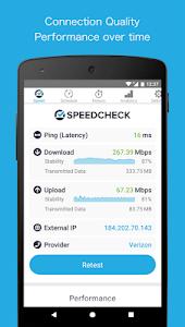 screenshot of SPEEDCHECK Speed Test version 5.0.0.8