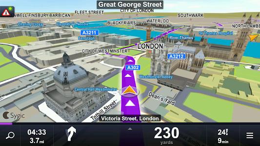 screenshot of Sygic Car Navigation version 15.1.0