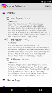 screenshot of Tags followers for Instagram version 1.0.0