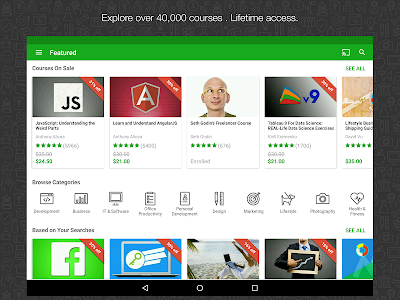 screenshot of Udemy Online Courses version 2.9.7